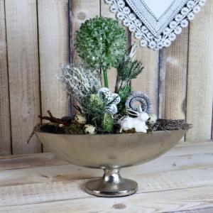 Tischdeko Tischgesteck, edel, in Aluschale, mit weißem Hasen, Osterdeko - Handarbeit kaufen