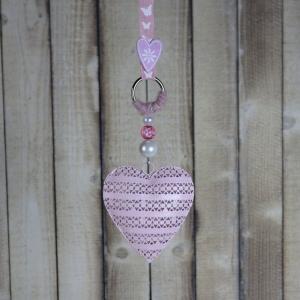 Fensterdeko, Herz in rosa, Hänger, Fensterschmuck - Handarbeit kaufen