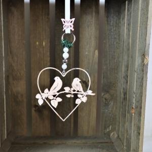 Fensterdeko Herz mit Vogel-Motiv in shabby rosa - Handarbeit kaufen