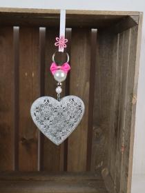 Fensterdeko Herz, grau rosa, Metall, Landhausdeko - Handarbeit kaufen