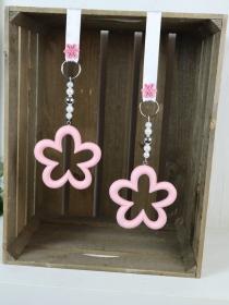 Fensterdeko Blüten, rosa, Holz - Handarbeit kaufen