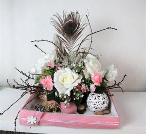 Tischgesteck, Tischdeko groß, weiß rosa edel - Handarbeit kaufen