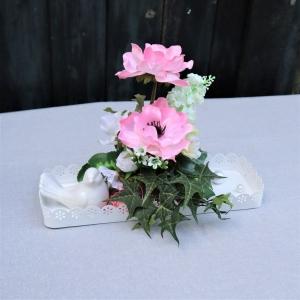 Tischgesteck weiß rosa, Tischdeko - Handarbeit kaufen