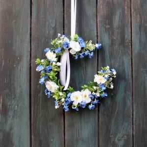 Türkranz, Flower Loop, Hoop, Wandkranz, blau weiß - Handarbeit kaufen