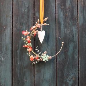 Türkranz, Flower Loop, Hoop, Wandkranz, mit Orchidee - Handarbeit kaufen