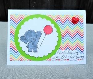 Karte zur Einschulung, Glückwunsch Karte zur Einschulung, Elefant mit  Luftballon - Handarbeit kaufen