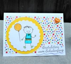 Karte zur Einschulung, Glückwunsch Karte zur Einschulung, Junge mit  Luftballon - Handarbeit kaufen