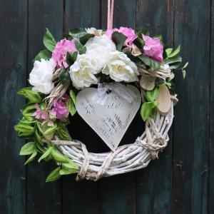 Türkranz, Wandkranz, groß, weiß rosa Herz 54 cm - Handarbeit kaufen