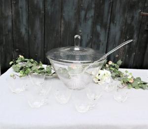 Altes Bowlen Set mit 9 Tassen, mit Muster, Vintage, Glas - Handarbeit kaufen