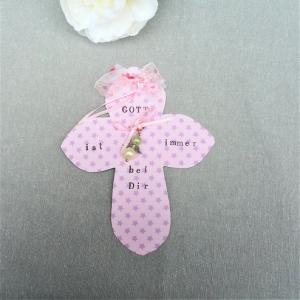 Schutzengel Karte Kreuz, Geschenk zur Geburt Taufe Kommunion Konfirmation, personalisierbar, rosa - Handarbeit kaufen