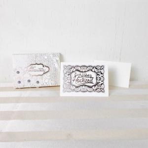 Geldgeschenk Silber Hochzeit, Hochzeitsgeschenk, Glückwunschkarte elegant - Handarbeit kaufen