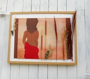 Wand Bild, Frau in Savanne, handgemalt, Wanddekoration - Handarbeit kaufen