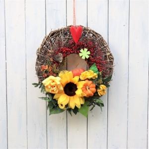 Türkranz Herbst, XXL Herbstkranz, Kranz Herbst, orange braun, Kürbis - Handarbeit kaufen