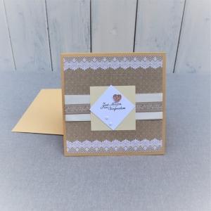Glückwunschkarte Hochzeit, Hochzeitskarte, Karte zur Hochzeit, Zwei Herzen - Handarbeit kaufen
