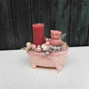 Adventsgesteck rosa verspielt, Weihnachten, Eule - Handarbeit kaufen
