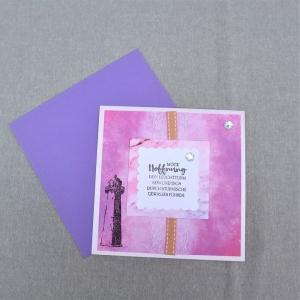 Glückwunschkarte neutral, Karte zum Geburtstag Jubiläum Hochzeit, mit Leuchtturm, rosa lila - Handarbeit kaufen