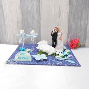 Geldgeschenk, Hochzeitgeschenk, blau, Geschenk Hochzeit - Handarbeit kaufen