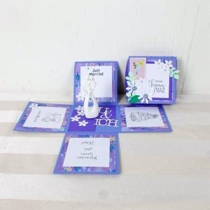 Explosionsbox Hochzeit, Hochzeitsgeschenk, mit modernen Brautpaar, lila weiß - Handarbeit kaufen