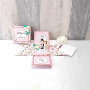 Explosionsbox Hochzeit, Hochzeitsgeschenk, Geldgeschenk, rosa creme - Handarbeit kaufen