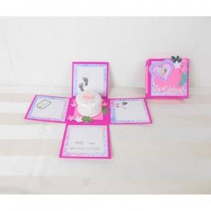 Explosionsbox Geburt, rosa mit Zahndose, Geburt Mädchen - Handarbeit kaufen