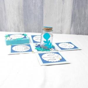 Explosionsbox Taufe Junge, Taufgeschenk, blau - Handarbeit kaufen
