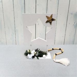 Weihnachtsdeko Holz Stern dekoriert, Tischdeko Weihnachten - Handarbeit kaufen