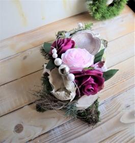 Grabgesteck mit Rosen, Allerheiligen Gesteck, Trauer Gesteck - Handarbeit kaufen