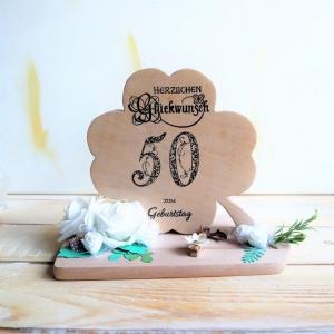Geldgeschenk zum 50ten Geburtstag, Kleeblatt aus Holz - Handarbeit kaufen