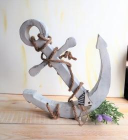 Holz Anker, Deko Anker, weiß dekoriert, groß - Handarbeit kaufen