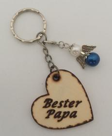 *Bester Papa* Schlüsselanhänger Holz Herz mit blauen Schutzengel