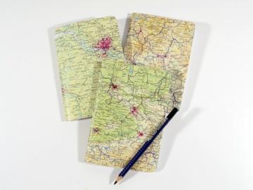 1 Notizheft DIN A6 mit Fadenhaftung gebunden Upcycling alte Landkarten Buchbindehandwerk von Pappelapier