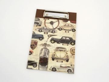 Klemmbrett DIN A5 Oldtimerpapier Buchbindehandwerk von Pappelapier  - Handarbeit kaufen