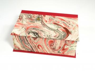 Schachtel mit Klappdeckel marmoriert rot-gold-silber