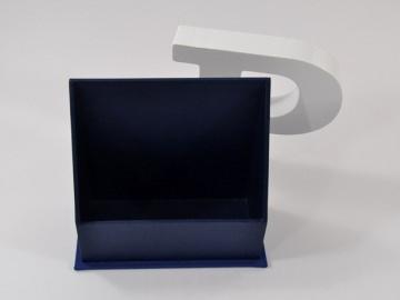 Aufsteller für Flyer schlicht blau Buchbindehandwerk von Pappelapier  - Handarbeit kaufen