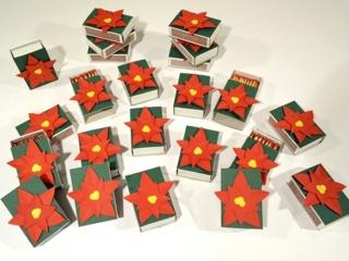 Streichholzschachtel Weihnachten 4er Set rot oder blau