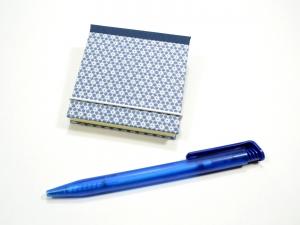 Haftnotiz, Klebezettel Mäppchen blaugemustert