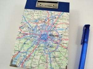 Klemmbrett Mini - Upcycling alte Landkarte München - Handarbeit kaufen