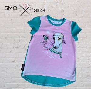 Mädchen Jersey Longshirt *rosa/mint* Gr. 98 - 128 - Handarbeit kaufen