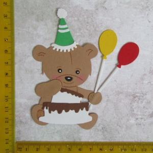 Scrapbooking Stanzteil Kartenschmuck  supersüßes Bärchen mit Kuchen und Luftballons  - Handarbeit kaufen