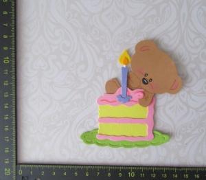 Scrapbooking Stanzteil, Kartenschmuck, Kartenaufleger Happy Birthday Kuchen mit Bärchen - Handarbeit kaufen