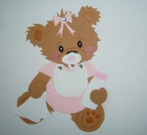 Scrapbooking, Stanzteil, Kartenschmuck, Kartenaufleger supersüßes Baby Bärchen sitzend rosa - Handarbeit kaufen