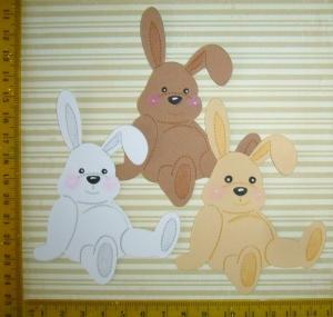 Scrapbooking Stanzteile Kartenschmuck  3 x Bunny weiß,braun und chamois - Handarbeit kaufen
