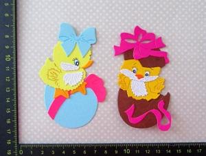 Stanzteile Kartenschmuck Scrapbooking Kartenaufleger Ostern 2 supersüße kleine Küken mit Osterei - Handarbeit kaufen