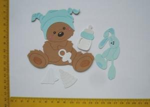 Scrapbooking  Kartenschmuck Stanzteile Kartendeko Babybärchen sitzend mit Zubehör - Handarbeit kaufen
