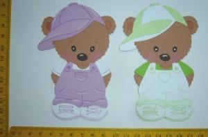 Scrapbooking Stanzteile Kartenschmuck zwei Stehende Bären Kindergeburtstag - Handarbeit kaufen