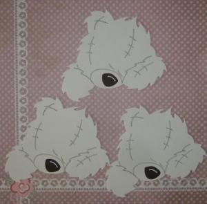 Scrapbooking Stanzteil Kartendeko Kartenschmuck Ostern 3 Bärenrohlinge weiß - Handarbeit kaufen