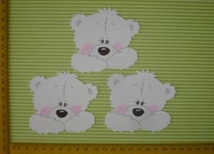 Scrapbooking Stanzteil Kartendeko Kartenschmuck 3 Bärenrohlinge weß - Handarbeit kaufen
