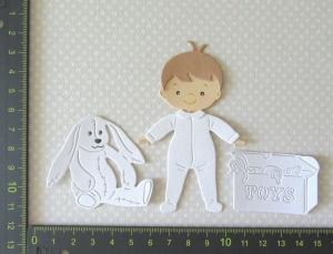 Scrapbooking  Stanzteil  Kartendeko  Kartenschmuck Kleiner süßer Stehender Junge Baby weiß - Handarbeit kaufen