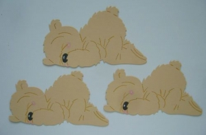 Scrapbooking  Stanzteil  Kartendeko  Kartenschmuck  3 schlafende liegende Bärenrohlinge chamois - Handarbeit kaufen
