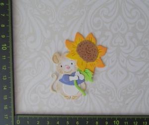 Scrapbooking  Stanzteil  Kartendeko  Kartenschmuck  eine supersüße Maus mit Sonnenblume